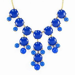 J Crew statement beaded necklace blue